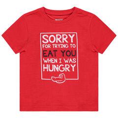 T-shirt manches courtes en maille slub à message printé