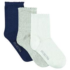 Set van 3 paar sokken in effen kleur
