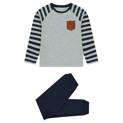 Junior - Pyjama en molleton et jersey avec inscription printée
