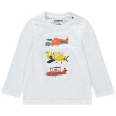 T-shirt met lange mouwen van gebreide stof met print met vliegtuigen