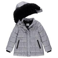 Junior - Parka en micro pied de poule doublée sherpa