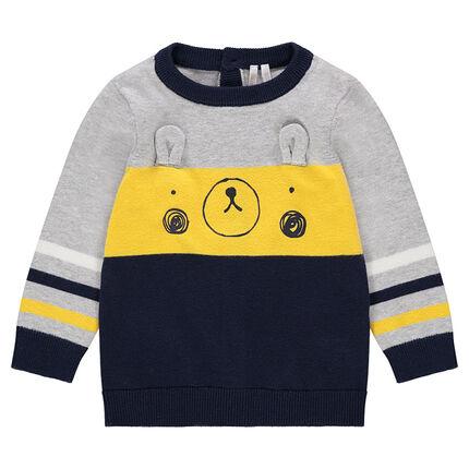 Pull en tricot avec ourson printé et oreilles en relief