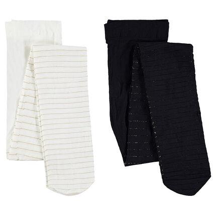 Set van 2 paar dikke panty's met goudkleurige strepen