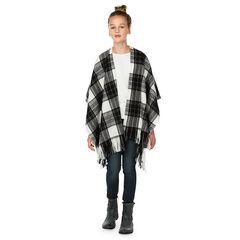 Cape style poncho en tricot fin imprimée carreaux avec franges