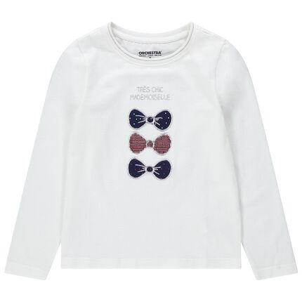 T-shirt met lange mouwen van jerseystof met geborduurde strikjes