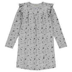 Junior - Nachthemd met lange mouwen van jerseystof met vallende sterren