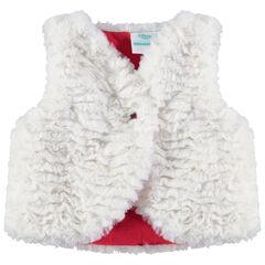 Vest zonder mouwen van sherpa met borduurwerk van Minnie aan de achterzijde