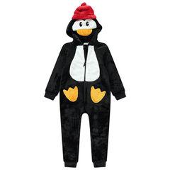 Overpyjama met pinguïn van sherpastof