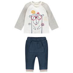 Ensemble bicolore avec ourson printé et pantalon à poche