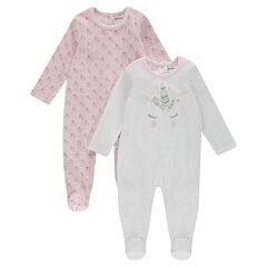 Set van 2 effen fluwelen pyjama's / met eenhoornmotief