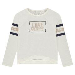 Junior - tee-shirt manches longues en jersey slub à bandes et texte printés