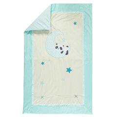 Donzen dekbed in fluweel en popeline met panda borduursel