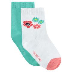 Lot de 2 paires de chaussettes assorties unies/ à fleurs