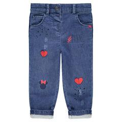 Jeans met used-effect met harten en print van ©Disney's Minnie