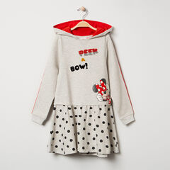 Robe manches longues à capuche en molleton print Minnie Disney