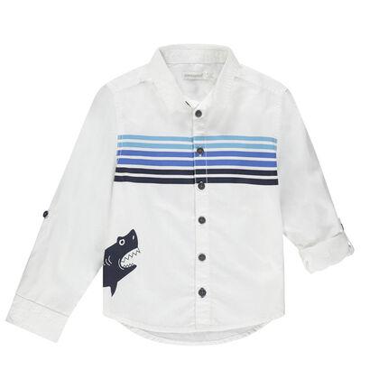 Chemise manches longues en coton à rayures et requin printé