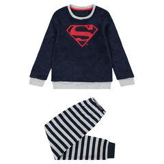 Pyjama en polaire avec logo ©Marvel Spiderman brodé et bas velours rayé