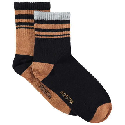 Set met 2 paar sokken met contrasterende strepen van jacquard