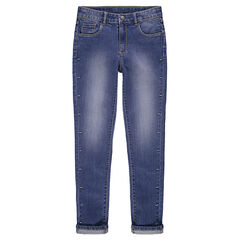 Junior - Slim fit jeans met used effect en metalen fantasietje