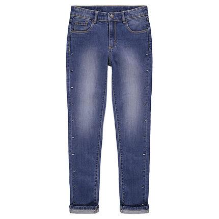 Junior - Jeans effet used coupe slim avec fantaisie en métal