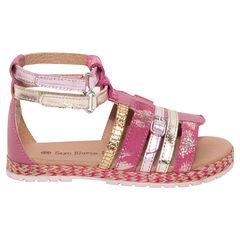 Gouden en roze sandalen uit leder