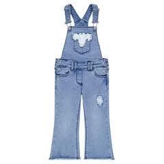 Salopette courte en jeans avec empiècements en dentelle