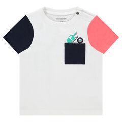 T-shirt met korte, contrasterende mouwen met zakje met print