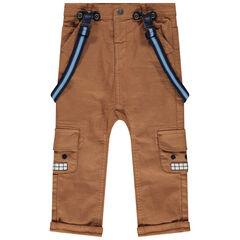 Pantalon en toile à poches et bretelles élastiquées