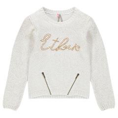 Junior - Pull en tricot pailleté avec sequins et zips fantaisie