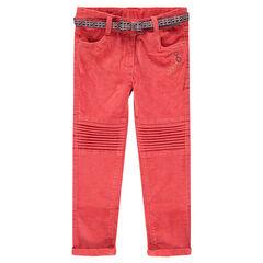 Koraalkleurige broek van velours met riem met waxbedrukking