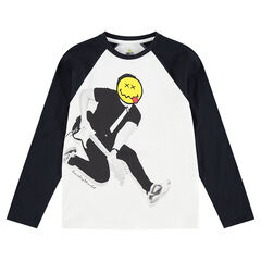 Junior - Tee-shirt manches longues en jersey avec personnage et tête de ©Smiley printés