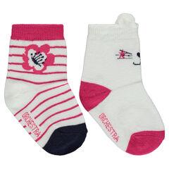 Lot de 2 paires de chaussettes assorties motif chat / rayures jacquard