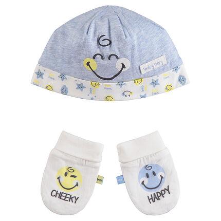 Ensemble bonnet et moufles en coton bio print Smiley