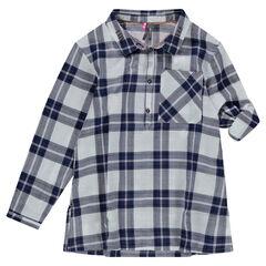 Junior - Tuniek met lange mouwen en ruiten in hemdstijl
