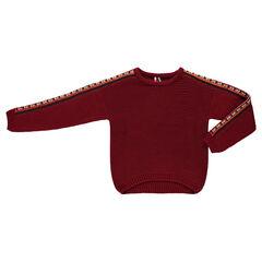 Junior - Wijde trui met grof breiwerk met borduurwerk