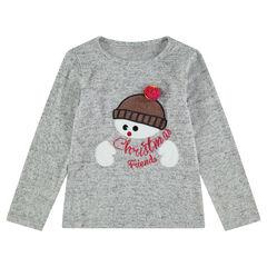 Gemêleerd kerst-T-shirt met lange mouwen met geborduurde sneeuwman