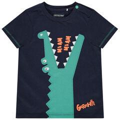 T-shirt manches courtes en coton bio motif crocodile