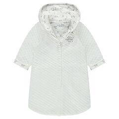 Vest met kap van jerseystof met geprinte voering