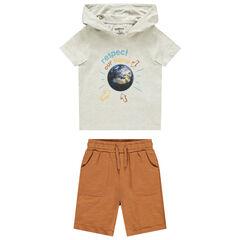 Ensemble t-shirt print planète et bermuda , Orchestra