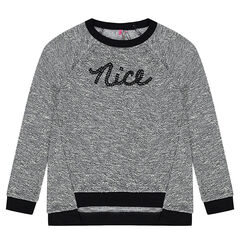 Junior - Sweat en molleton fantaisie avec inscription en sequins