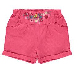 Short en coton fantaisie avec fleurs brodées