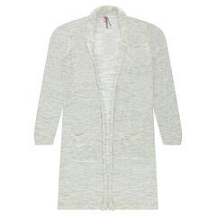 Junior - Gilet long en tricot chiné avec poches