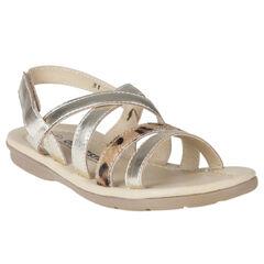 Open schoenen goudkleurig leder luipaardprint