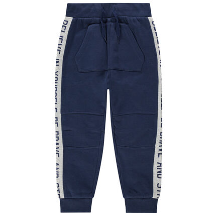 Pantalon de jogging en molleton à bandes contrastées et poche kangourou