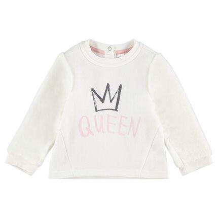 """Sweat en molleton avec motif et message """"Queen"""" printé"""