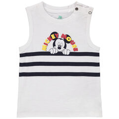 Débardeur en coton bio à bandes et Mickey Disney printé