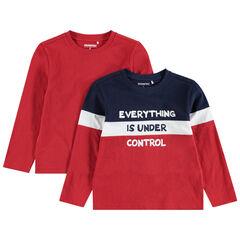Junior - Set met 2 T-shirts met effen lange mouwen / drie kleuren en print met boodschap