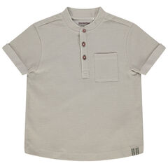 T-shirt manches courtes en maille fantaisie et poche