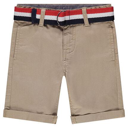 Junior - Bermuda en twill uni avec ceinture tricolore amovible