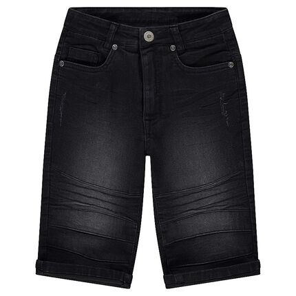 Junior - Jeansbermuda met used en crinkle effect